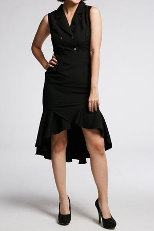 Midi Sleeveless Dress 0653 Black / S Dresses