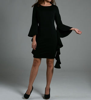 Frill Sleeve Fitted Dress 0569 Black / S Dresses