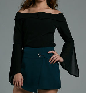 Off Shoulder Chiffon Sleeve Top 0576 Black / S Tops