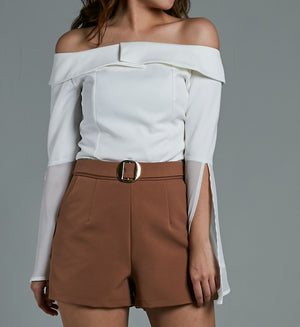 Off Shoulder Chiffon Sleeve Top 0576 White / S Tops