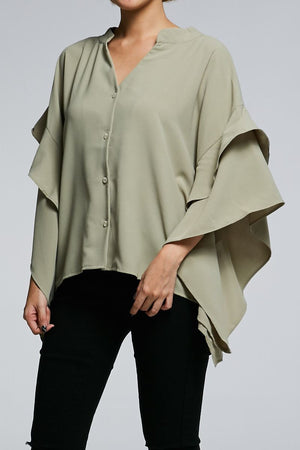 Long Sleeves Button Top 0616 Green Tops
