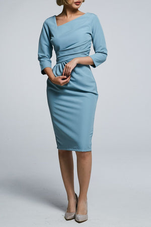 Midi Sleeves Fitted Dress 0590 Blue / S Dresses