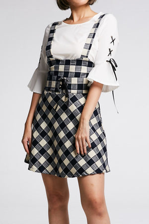 Mid Sleeves Top With Checker Dress Set 0675 Dark Blue / S Sets