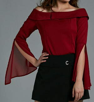 Off Shoulder Chiffon Sleeve Top 0576 Red / S Tops