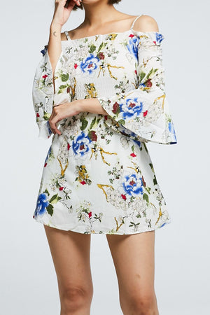 Open Shoulder Floral Playsuit 0682 - Ample Couture