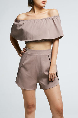 Off Shoulder Crop Top With Short Pants Set 0710 - Ample Couture