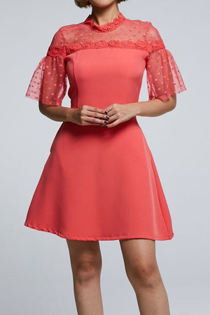 Short Sleeves Mini Dress 0595 Pink / S Dresses