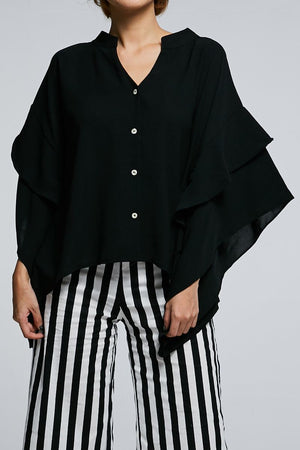 Long Sleeves Button Top 0616 Black Tops