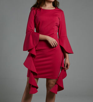 Frill Sleeve Fitted Dress 0569 Pink / S Dresses