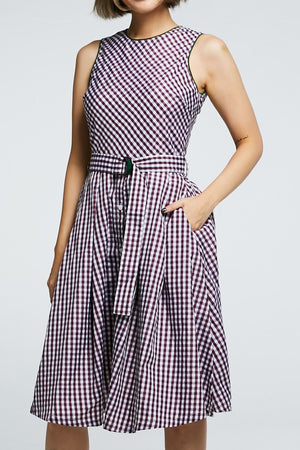 Checker Button Dress 0704 - ample-couture