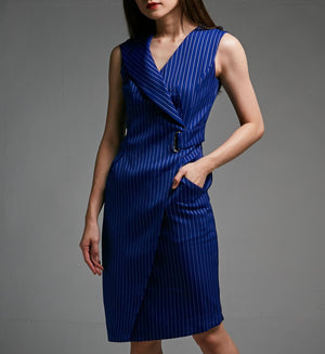 Stripe Fide Buckle Sleeveless Dress 0465 - ample-couture