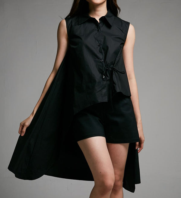 Back Long Top 0430 Black / S Tops