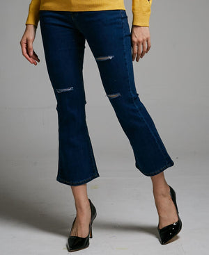 DENIM BELL-BOTTOM WITH HOLES LONG PANTS 0477 - Ample Couture