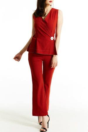Fake Button Jumpsuit 0765 - Ample Couture