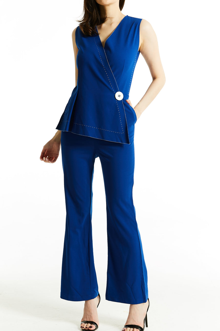 Fake Button Jumpsuit 0765 Red / S Jumpsuits