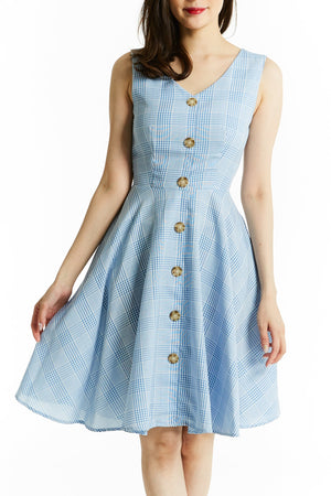 Plaid Dress 0790 Blue / S Dresses