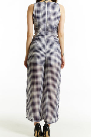 Checked Print Jumpsuit 0794 - ample-couture
