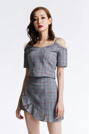 Checker Top with Skirt Pant Set 0828 - ample-couture