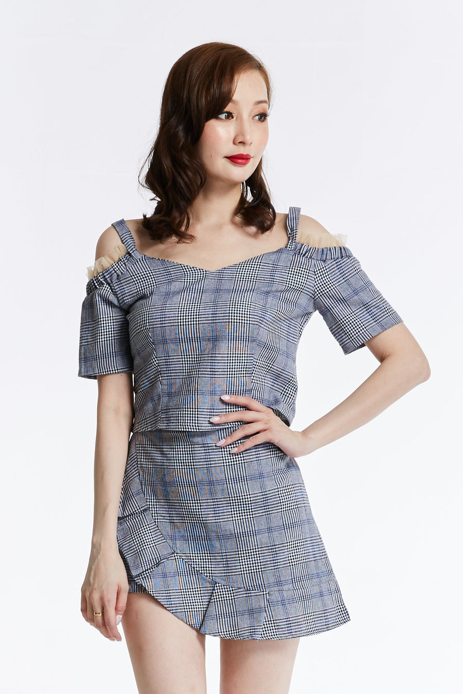 Checker Top With Skirt Pant Set 0828 - Ample Couture