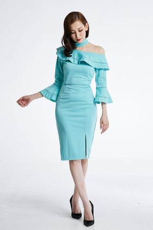 Frill Fitted Dress 0873  - ample-couture