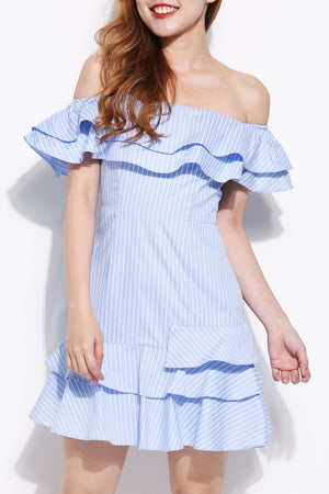 Striped Off Shoulder Dress 5077