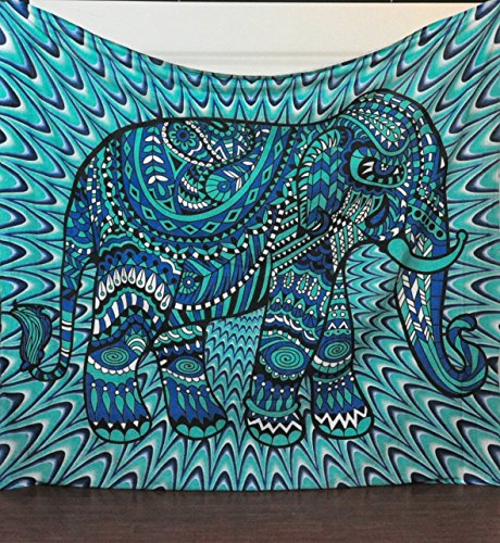 Loud Cyan Elephant Unique Psychedelic Bedroom Tapestry
