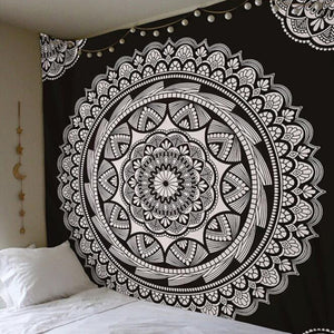 Black and White Boho Floral Mandala Hanging Wall Tapestry