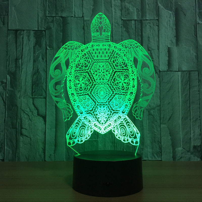 Turtle 3D Optical Illusion Hologram Engraved USB Lamp