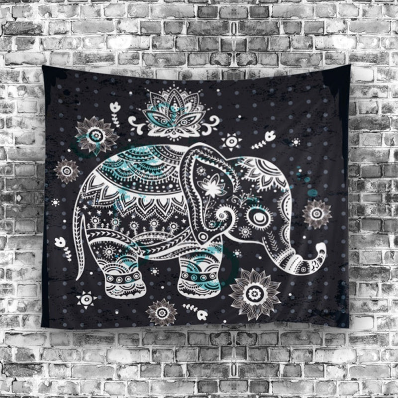 Mandala Elephant Trippy Wall Hanging Tapestry