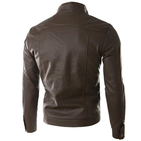 Jaqueta Masculina Couro PU Brown - Florida Outlet