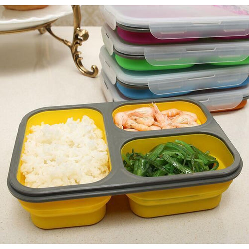 Marmita Bento de Silicone Dobrável Eco Friendly com 3 Compartimentos - 1100 mL