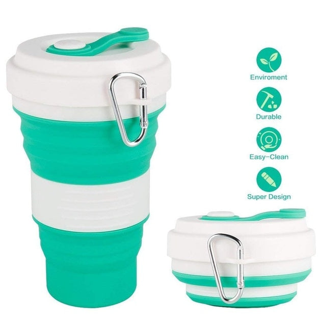 Copo Eco-Friendly Silicone Retrátil Com Tampa e Biqueira - 550 mL - Florida Outlet