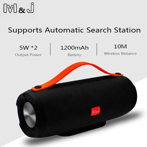 Speaker Portátil M&J Bluetooth 10W FM Radio Subwoofer