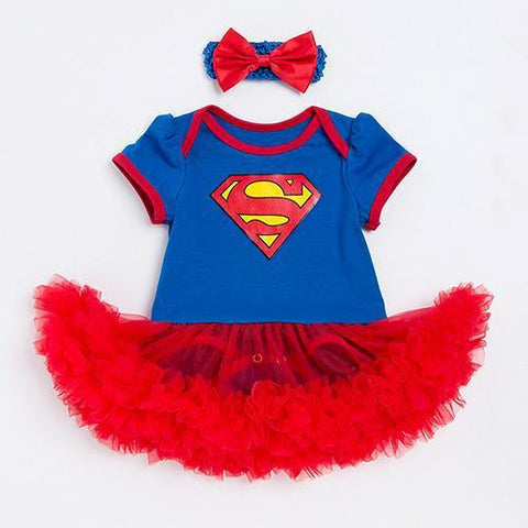 Vestido Body YK&Loving Infantil Superman Tutu e Faixinha-Florida Outlet