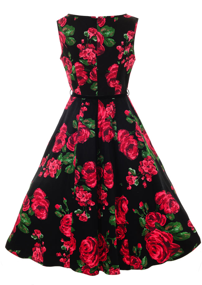 Hepburn Vintage Dress - Red Rose Floral
