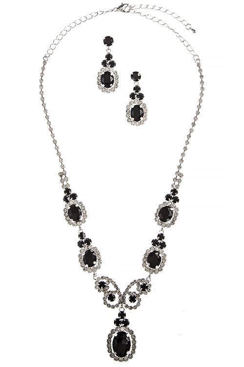 Evening Necklace and Earring Set - Black