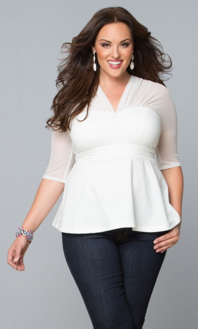 Pretty Peplum Mesh Top - Ivory