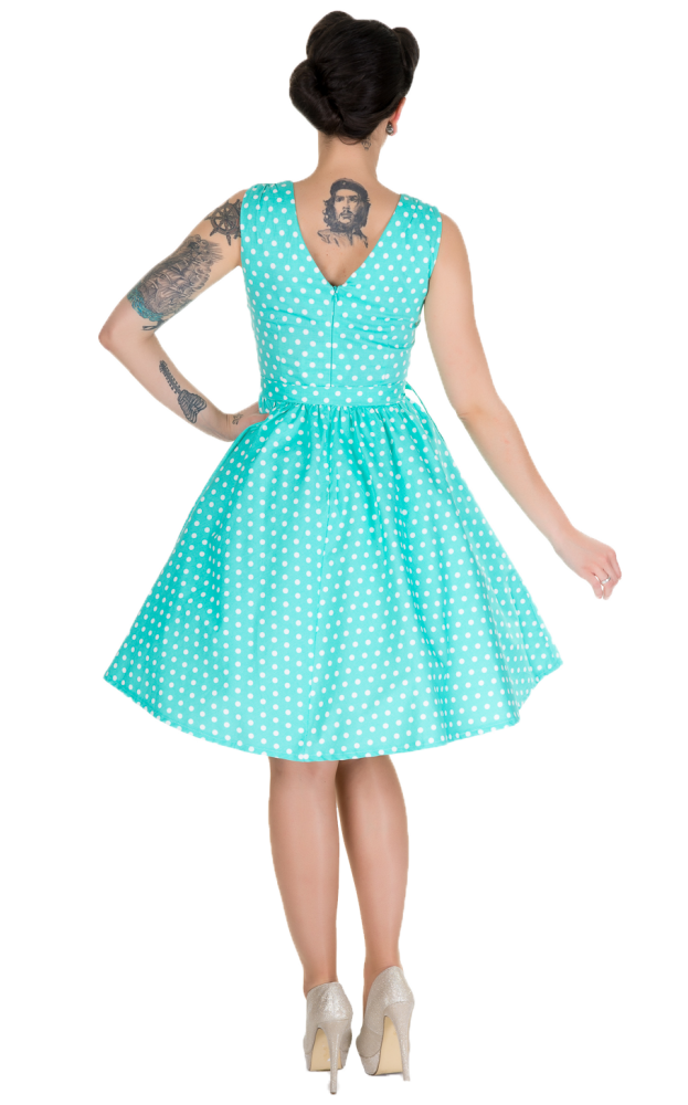 Roslyn Polka Dot Vintage Dress - Mint