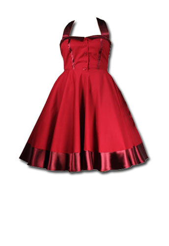 Cotton Swing Dress - Red