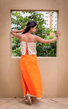 Orange Spaghetti Maxi Dress