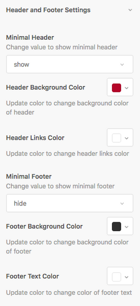 Diziana Zendesk Theme Settings for header and footer.