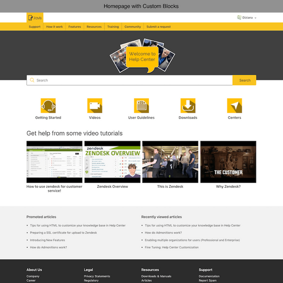 Diziana Javis Theme Homepage with Custom Blocks