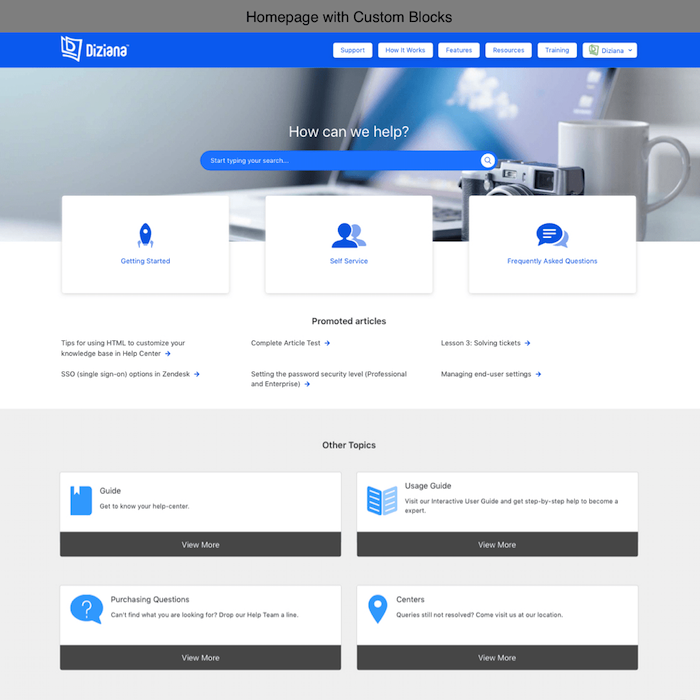 Diziana Arcturus Theme Homepage with Custom Blocks