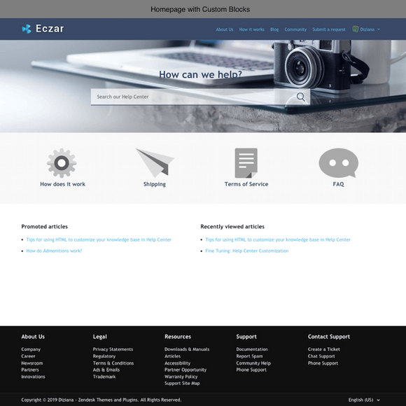 Diziana Eczar Theme Homepage with Custom Blocks