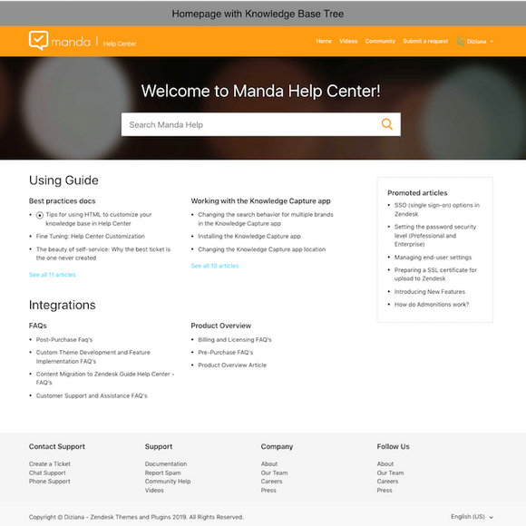 Diziana Manda Theme Homepage with Knowledge Base Tree