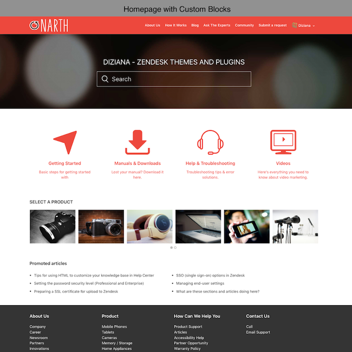 Diziana Narth Theme Homepage with Custom Blocks