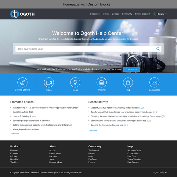 Diziana Ogoth Theme Homepage with Custom Blocks