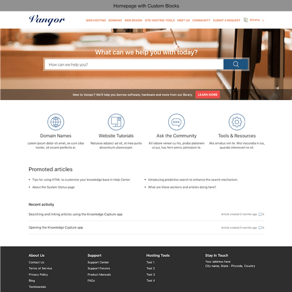 Diziana Vanqor Theme Homepage with Custom Blocks