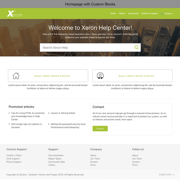 Diziana Xeron Theme Homepage with Custom Blocks