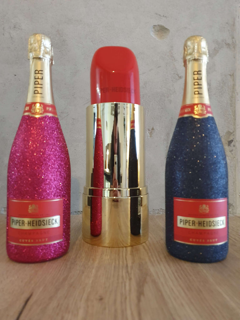 Piper-Heidsieck Brut Champagner 0,75l (12% Vol) Bling Bling Glitzerflasche + Verpackung in Lipstick Lippenstift Form - [Enthält Sulfite]